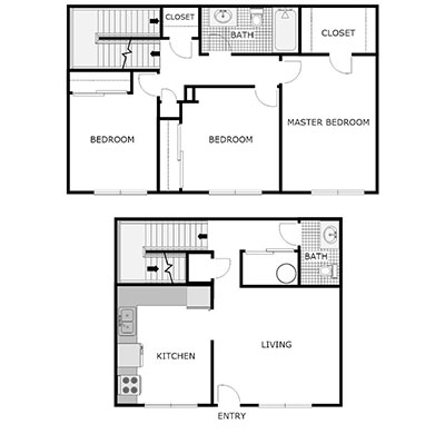 3 bed townhome floor plan