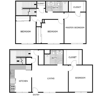 4 bed townhome floor plan